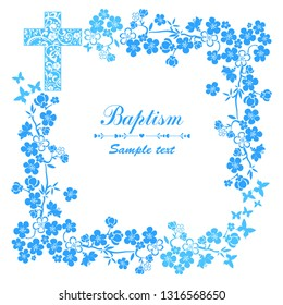 Baptism Card Design with Cross. Baptism. Christening. First Communion. Vector Illustration