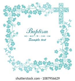 Baptism Card Design with Cross. Mint Baptism. Christening. First Communion. Vector Illustration