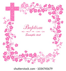 Baptism Card Design with Cross. Pink Girl's Baptism. Christening. First Communion. Vector Illustration