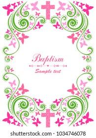 Baptism Card Design with Cross. Pink Girl's Baptism. Christening. First Communion. Vector Illustration