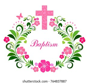 Baptism Card Design with Cross. Vector Illustration