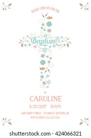 Baptism, Christening, Communion, Religious Occasion Invite - Invitation Template with Cross and Flowers
