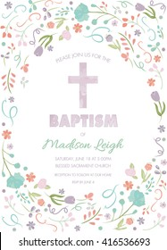 Baptism, Christening, First Communion Invite Template - Invitation with Floral Border Frame