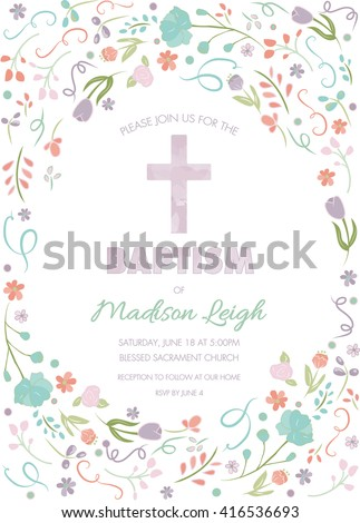 Baptism Christening First Communion Invite Template Stock Vector