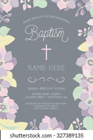 Baptism, Christening, First Holy Communion, Confirmation Invitation Template - Floral Border - Vector