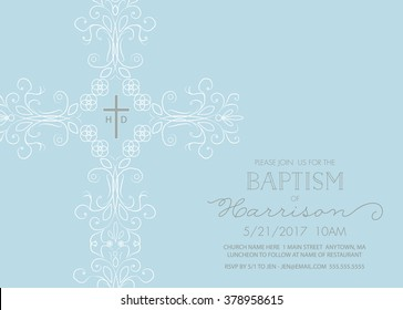 Baptism, Christening, First Holy Communion Invitation Template with Ornate Cross - Vector