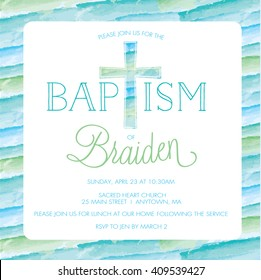 Baptism, Christening Invitation Card - Invite Template - Boy - Watercolor Cross
