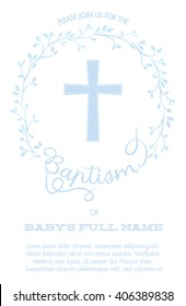 Baptism, Christening Invitation with Cross and Watercolor Floral Wreath - White Background