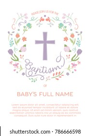 Baptism, Christening Invitation - Invite Template with Illustrated Cross and Flowers, Floral Wreath