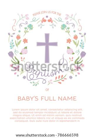 Baptism Christening Invitation Invite Template Illustrated Stock