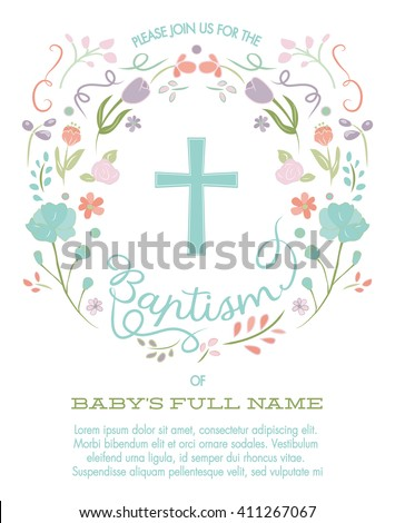 Baptism Christening Invite Invitation Template Cross Stock Vector