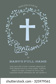 Baptism, Christening Naming Day Celebration Invitation with Watercolor Cross and Floral Wreath Design - Vector