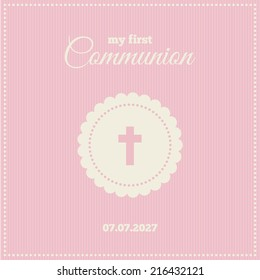 Baptism or communion invitation. Frame with symbol of a cross on a pink background