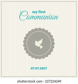 Baptism or communion invitation. Frame with symbol of a cross on a cream background