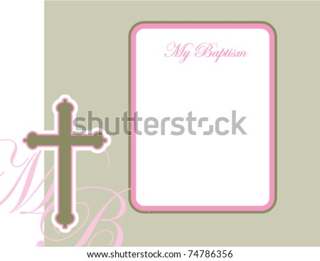 baptism invitation baby girl stock vector royalty free 74786356