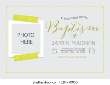 Baptism Invitation Card Template with Photo Insert