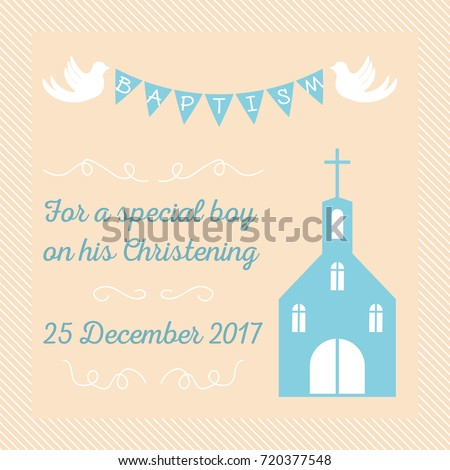 Baptism Invitation Card Template Stock Vector Stock Vektorgrafik