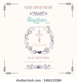 Baptism invitation card. vector baptism.