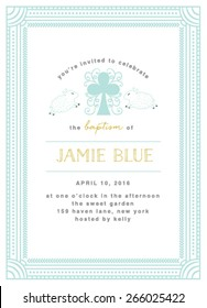 Baptism invitation / Communion Template with Cross Illustration