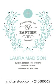 Baptism Invitation Design with wreath on white background. Baptism Template with Cross