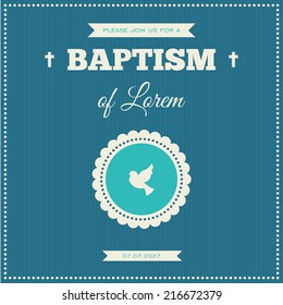 Baptism invitation. Frame with symbol of a dove on a blue background