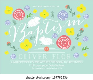 Baptism Invitation with Lamb and Flowers in Flowers