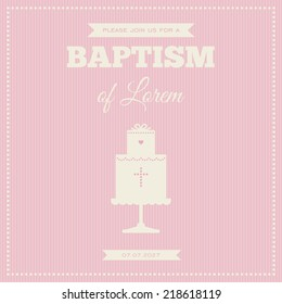 Baptism invitation. Pink and cream colors. Illustration of a baptism cake.