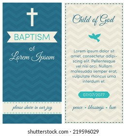 Baptism invitation, template. Blue, azure and cream colors. Banner, lettering, symbols of dove and cross. On a chevron background.