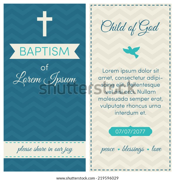 Baptism Invitation Template Blue Azure Cream Stock Vector (Royalty ...