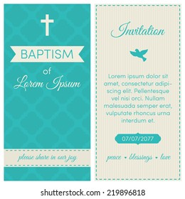 Baptism invitation, template. Blue and cream colors. Banner, lettering, symbols of dove and cross.