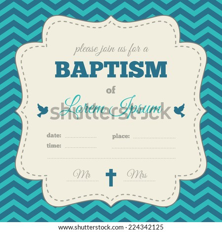 Baptism Invitation Template Blue Gray Cream Stock Vector Royalty