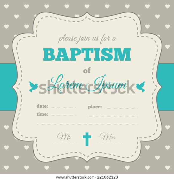 Baptism Invitation Template Blue Gray Cream Stock Vector (Royalty ...