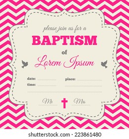 baptism invitation template pink cream colors stock vector royalty