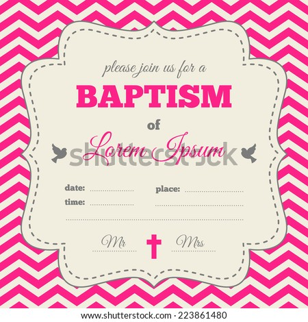 Baptism Invitation Template Bright Pink Gray Stock Vector Royalty