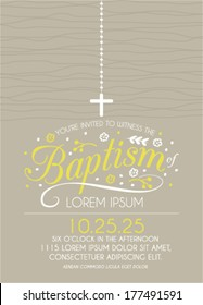 Baptism Invitation Template with Cross in Vector