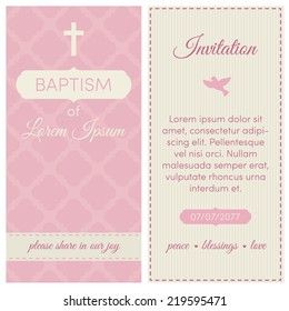 Baptism invitation, template. Pink and cream colors. Banner, lettering, symbols of dove and cross.