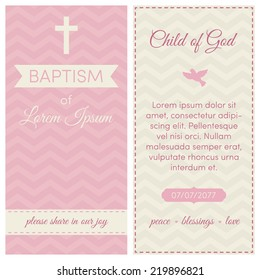Baptism invitation, template. Pink and cream colors. Banner, lettering, symbols of dove and cross, on a chevron background.
