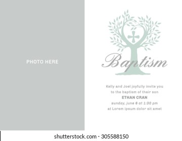 Baptism Invitation Template with place for photo.