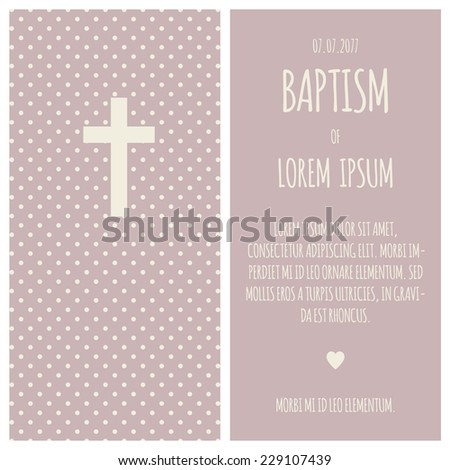 Baptism Invitation Template Puce Cream Colors Stock Vector Royalty