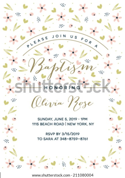 Baptism Invitation Template Vector Stock Vector (Royalty Free ...