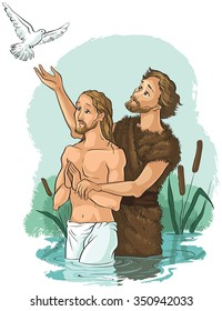 Baptism of Jesus Christ. Also available coloring book version.