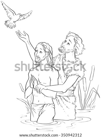 Baptism Jesus Christ Coloring Page Available Stock Vector (Royalty ...