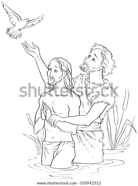 Baptism Jesus Christ Coloring Page Available Stock Vector ...