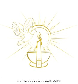 Baptism sacrament symbols. Gold and simple invitation design.