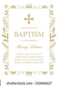 Baptism Template with Floral Frame. Baptism Card with Cross in Vector. Baptism Invitation Template