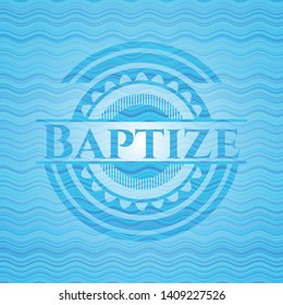 Baptize water wave representation style badge. Vector Illustration. Detailed.