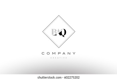 baq b a q retro vintage simple rhombus three 3 letter combination black white alphabet company logo line design vector icon template