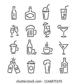 Bar Black Signs Thin Line Icon Set Can Be Used for Pub Design. Vector illustration of Icons Drink