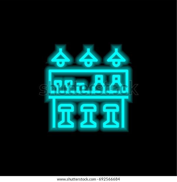 Bar blue glowing neon ui ux icon. Glowing sign logo vector