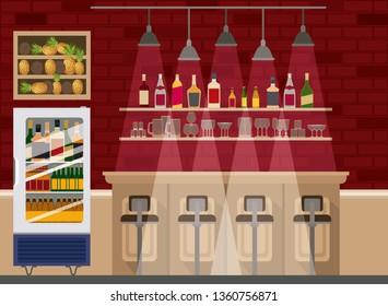 bar with bottles liquor scene